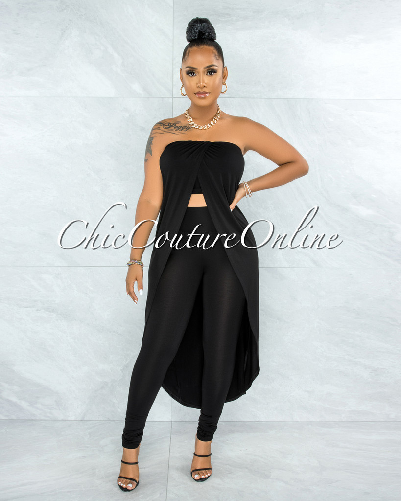 Folker Black Front Slit Long Top & Leggings Set