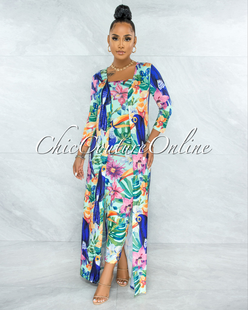 Irenia Green Tropical Print Midi Dress and Duster Set