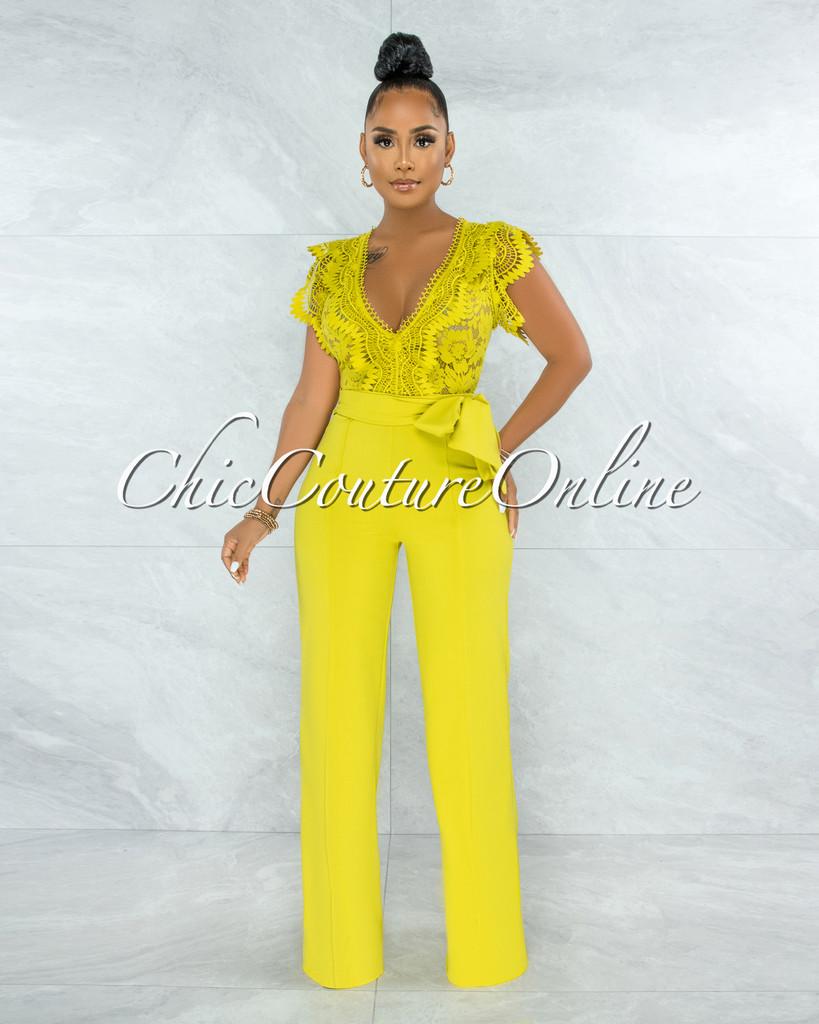 Pamba Lime Yellow Crochet Lace See-Through Top Jumpsuit