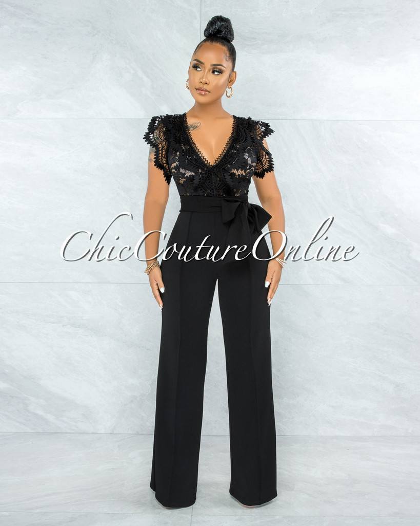 Pamba Black Crochet Lace See-Through Top Jumpsuit