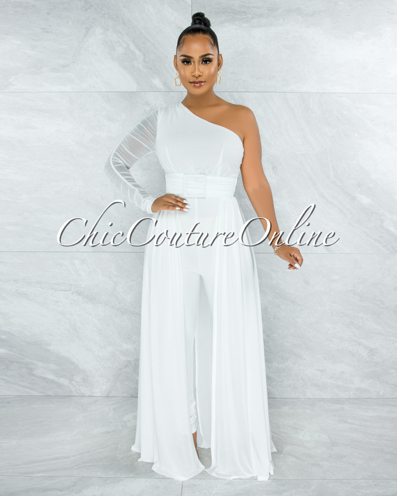 Lakshya Off-White Square Buckle Overlay Jumpsuit