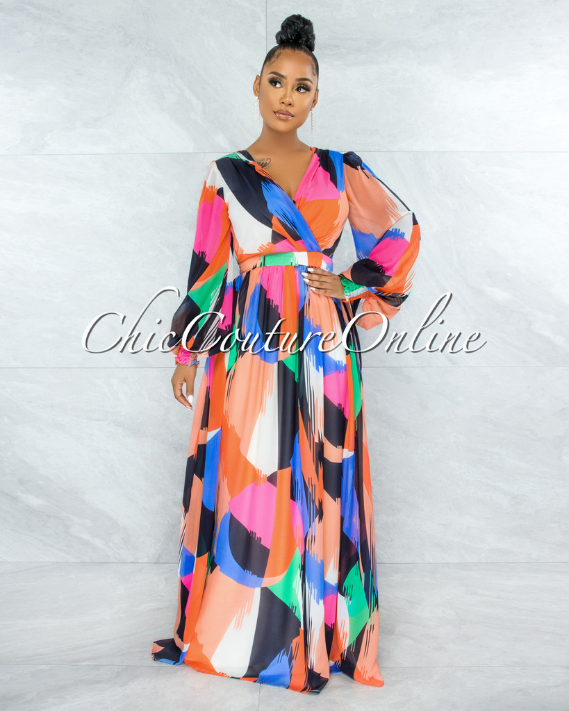 Ranait Color Mulit-Color Print Long Sleeves Maxi Dress