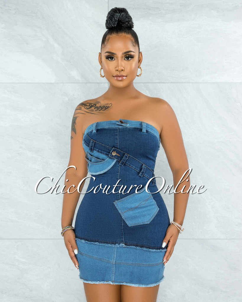 Rastus Medium Denim DIY Illusion Mini Dress