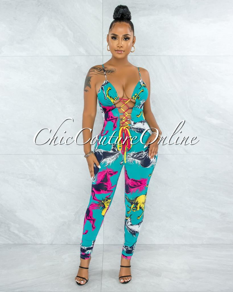 Servas Teal Multi-Color Print Front Lace-Up Jumpsuit