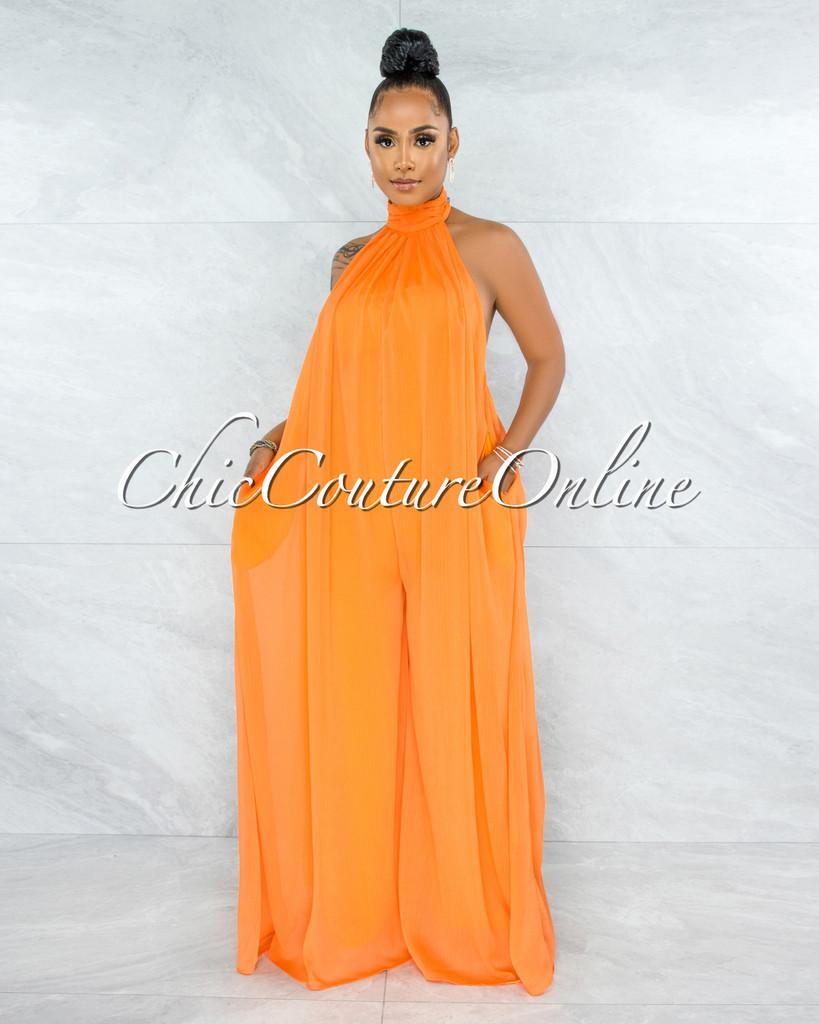 Fadil Orange Halter Low Back Wide Jumpsuit