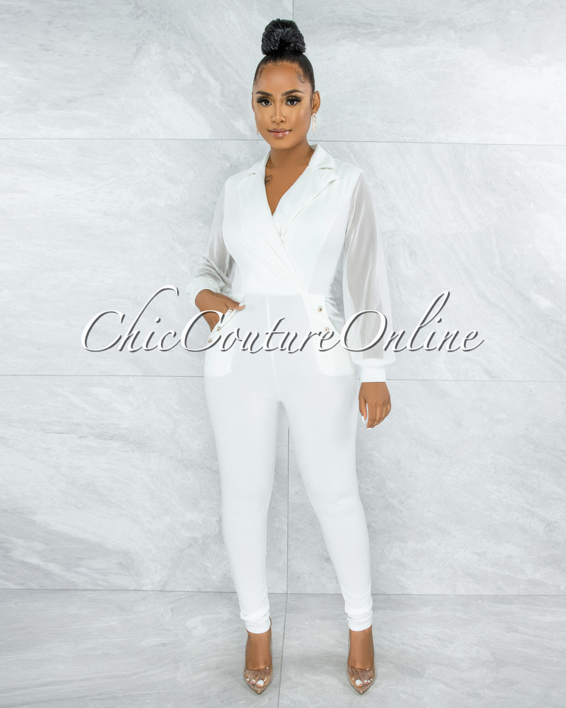 Kasim Off-White Double Breast Gold Buttons Jumpsuit