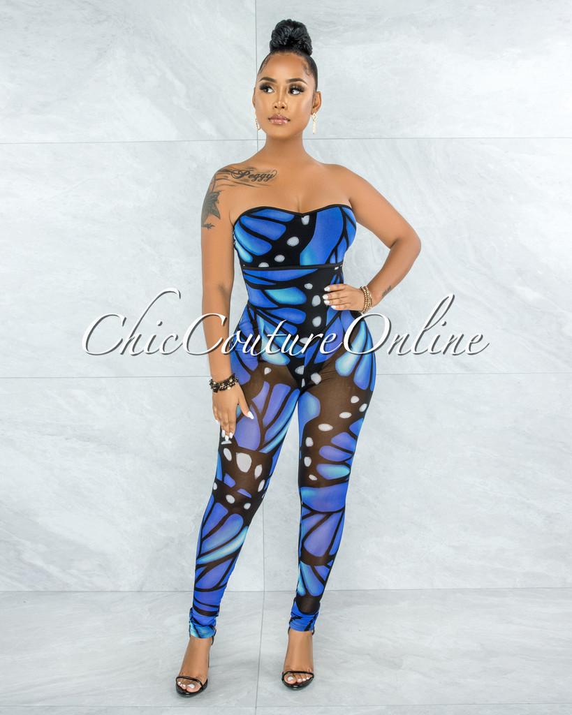 Consuelo Blue Black Butterfly Print Mesh Bodysuit Jumpsuit