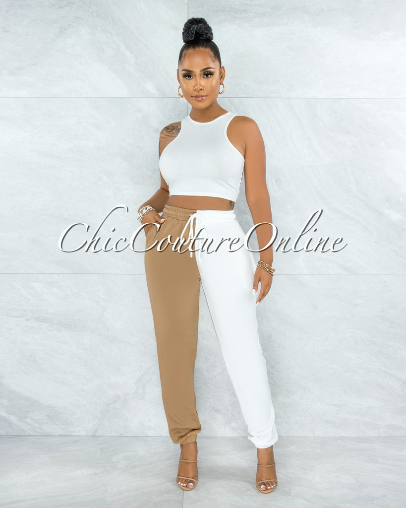Extany White Nude Top & Two Tones Joggers Set
