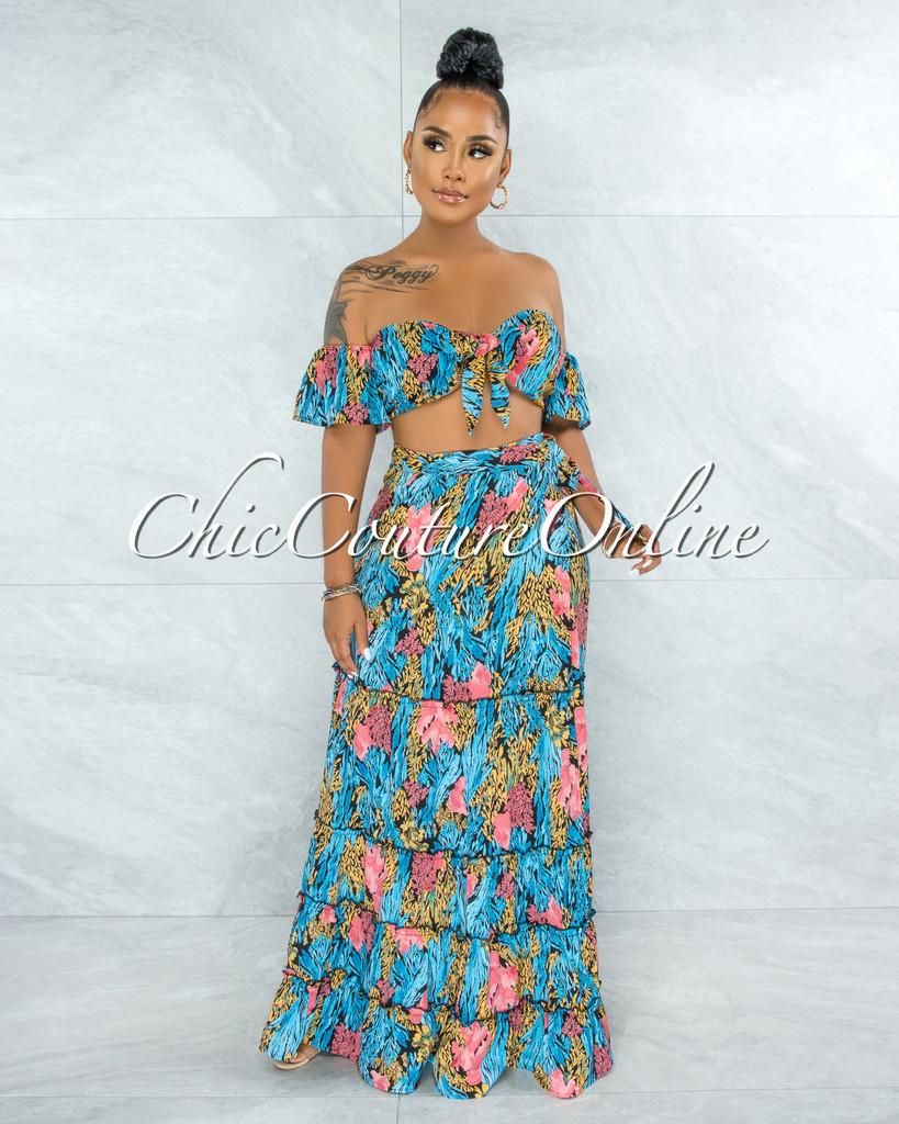 Morgan Black Blue Pink Print Tie Top & Wrap Skirt Set