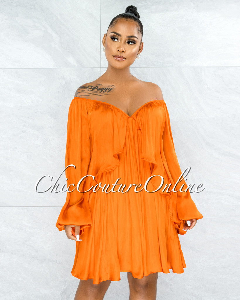Mohave Orange Overlay Wide Sleeves Silky Dress