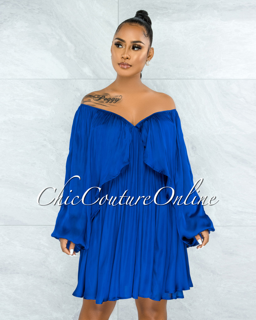 Mohave Royal Blue Overlay Wide Sleeves Silky Dress