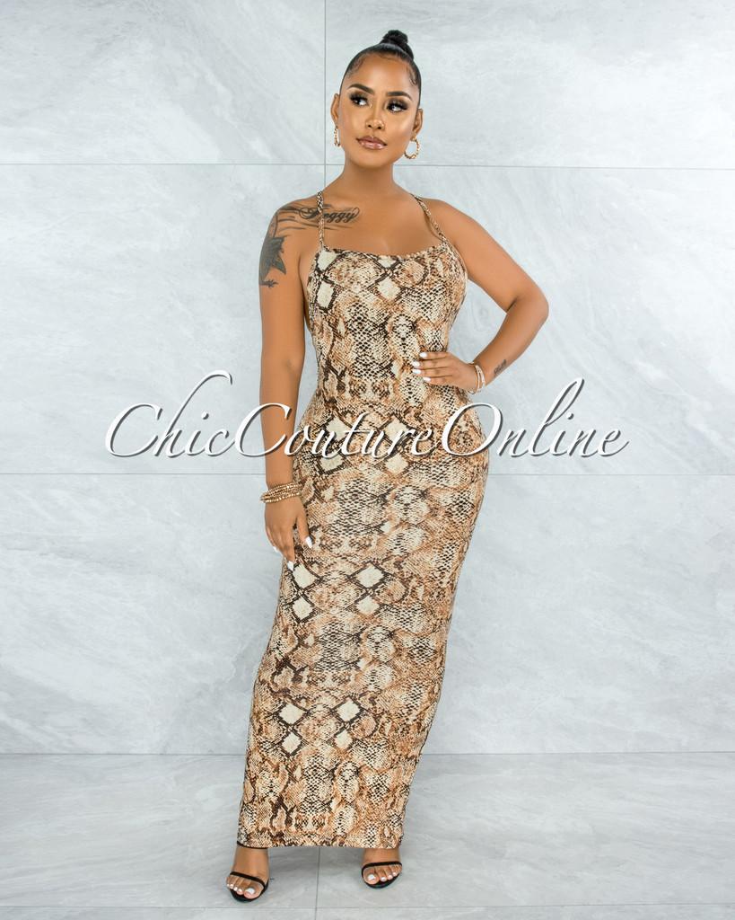 Seville Brown Snake Print Body-Con Maxi Dress