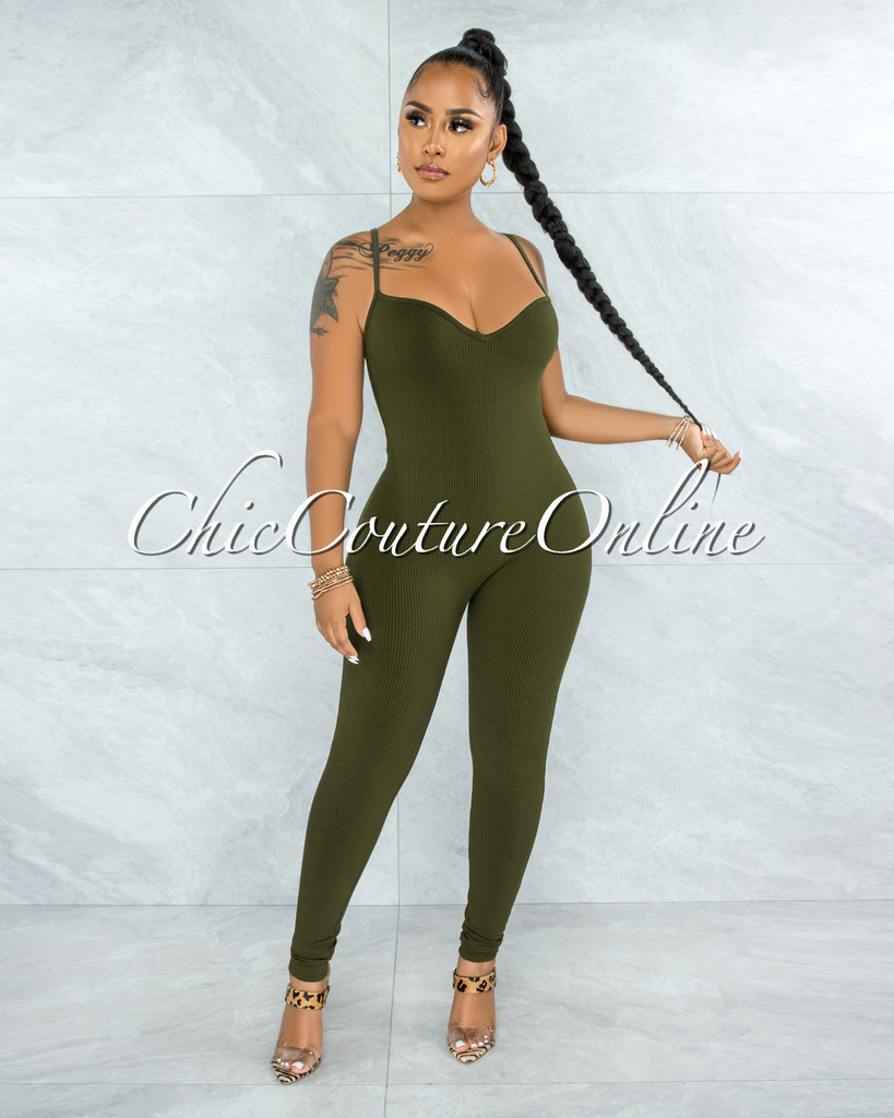 Canadea Olive Sweetheart Neck Ribbed Jumpsuit