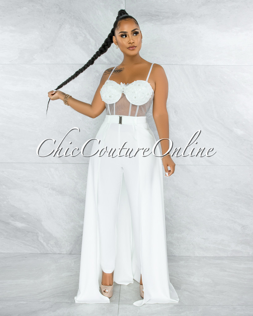 Misty Off-White Crochet Embroidery Top Silver Belt Jumpsuit