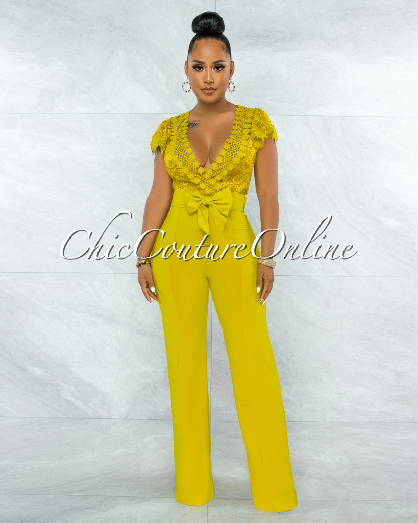 Fiorella Lime Yellow Lace Sheer Top Bow Belted Jumpsuit