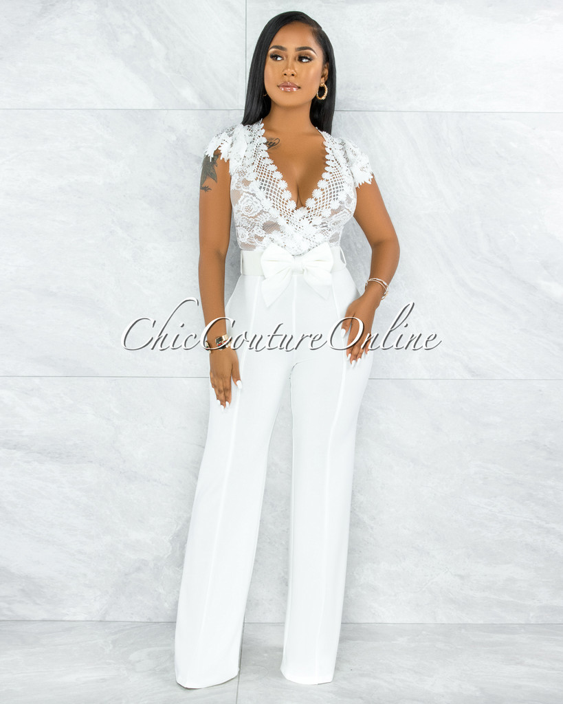 Fiorella Off-White Lace Sheer Top Bow Belt Jumpsuit
