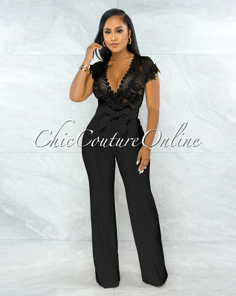 Fiorella Black Lace Sheer Top Bow Belted Jumpsuit