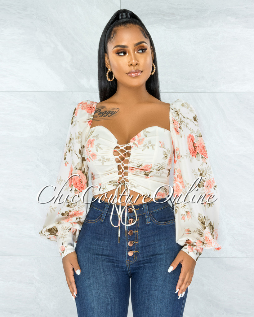Engela Cream Floral Print Front Lace-Up Crop Top
