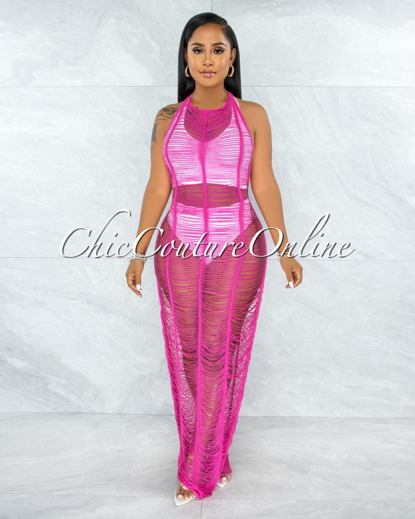 Isandra Fuchsia Crochet Open Back Cover-Up Dress