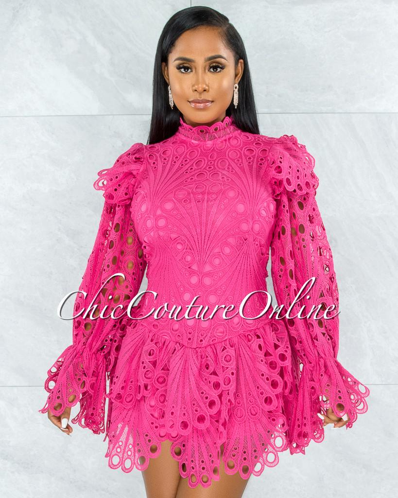 Zamora Hot Pink Crochet Embroidery Ruffle Ultra Mini Dress