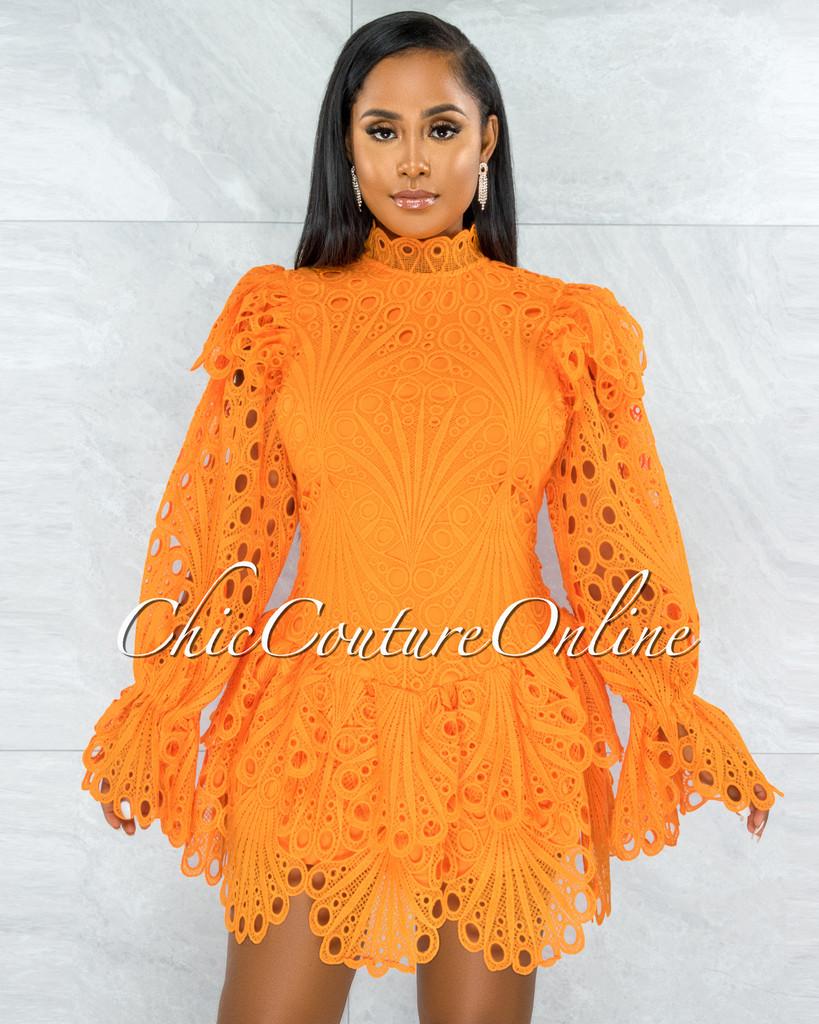 Zamora Orange Crochet Embroidery Ruffle Ultra Mini Dress