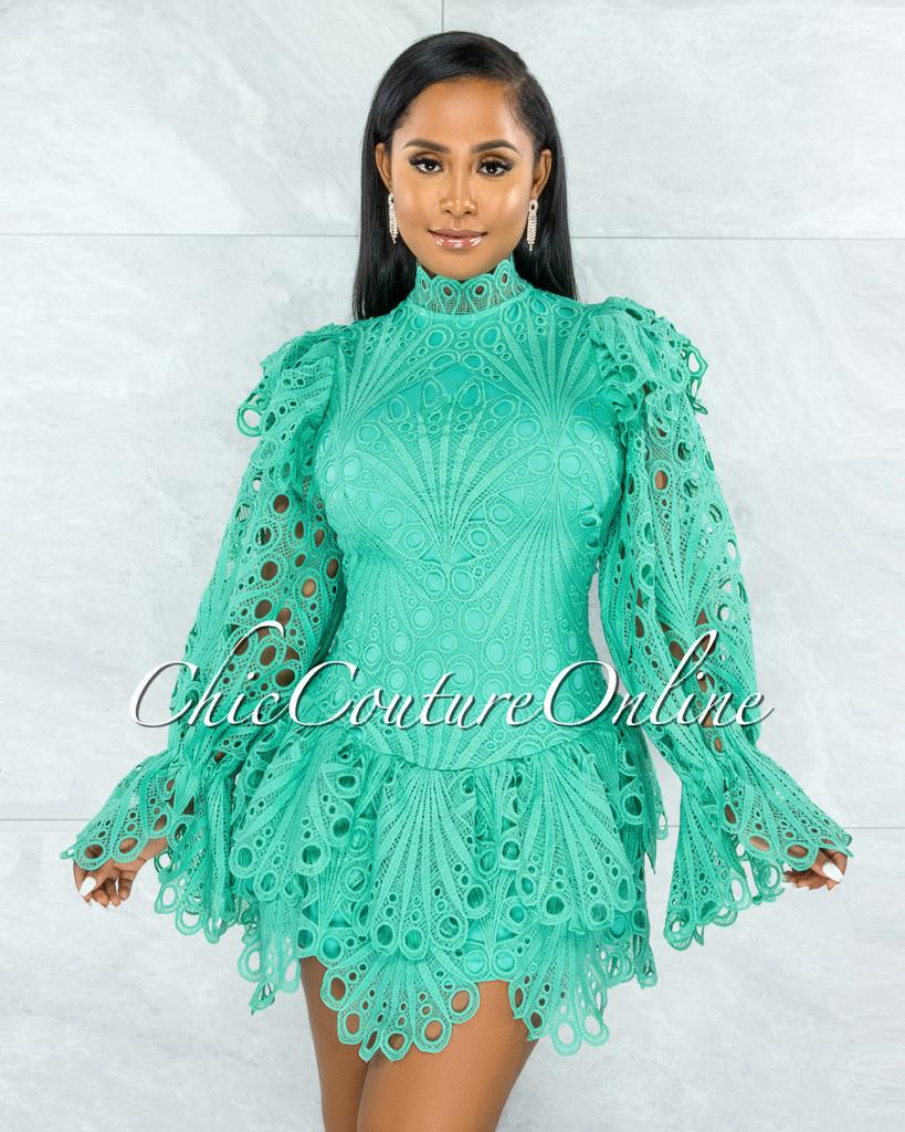 Zamora Seafoam Green Crochet Embroidery Ruffle Ultra Mini Dress