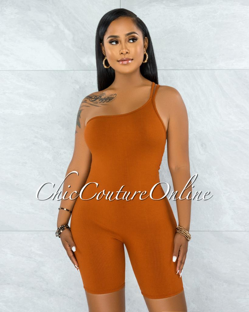 Noreh Orange Ribbed Single Shoulder Romper