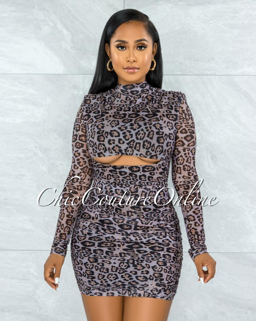 Ignatius Leopard Print Mesh Ruched Cut-Out Dress