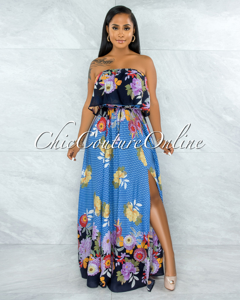Quito Blue Floral Print Overlay Ruffle Maxi Dress
