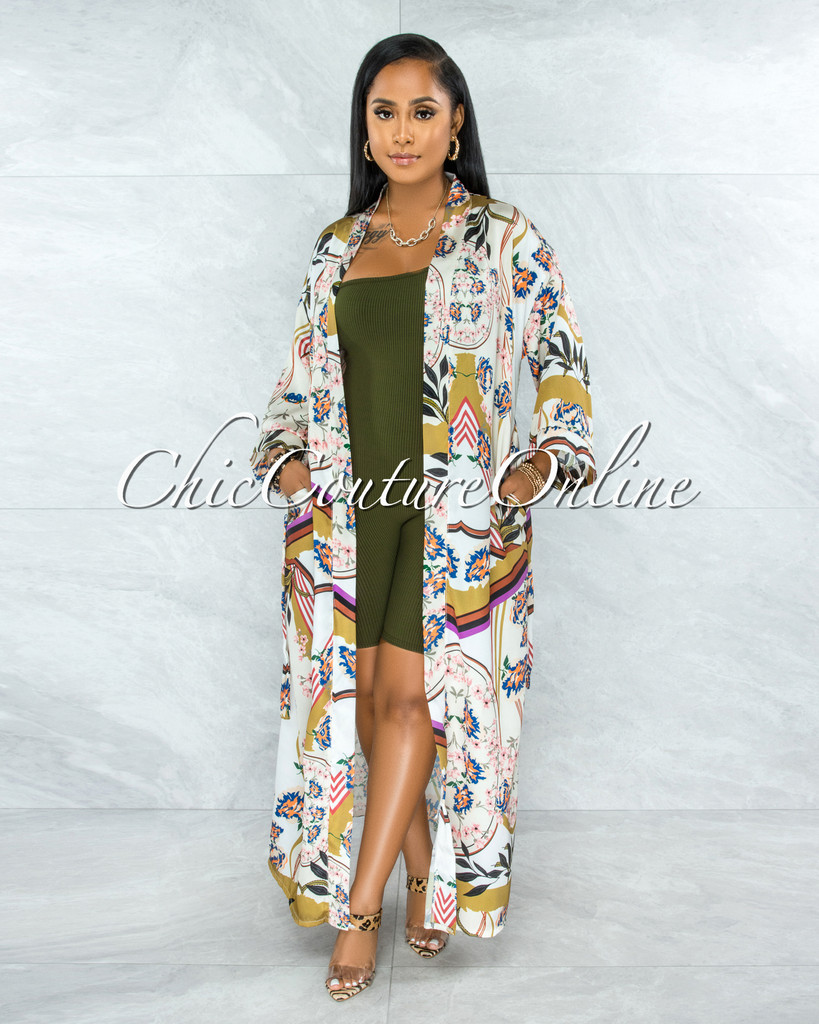 Ethanel Olive Green Print Satin Luxe Duster