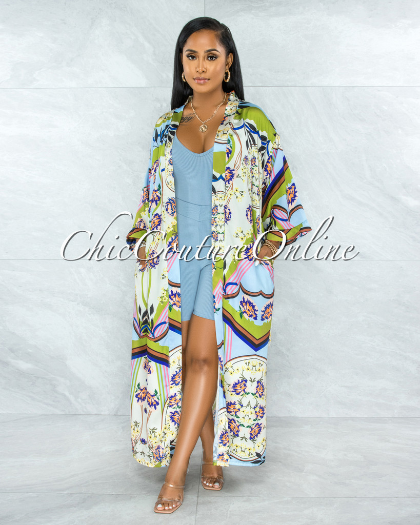 Ethanel Baby Blue Print Satin Luxe Duster