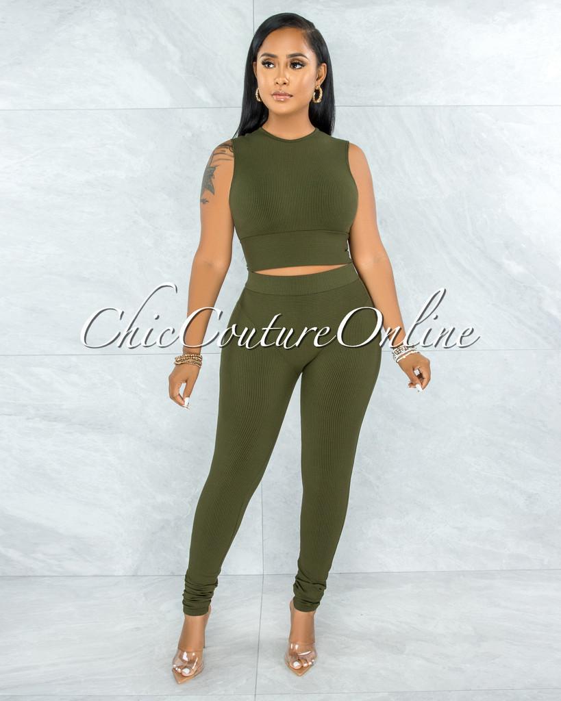 Candra Olive Green Crop Top & Leggings Ribbed Set
