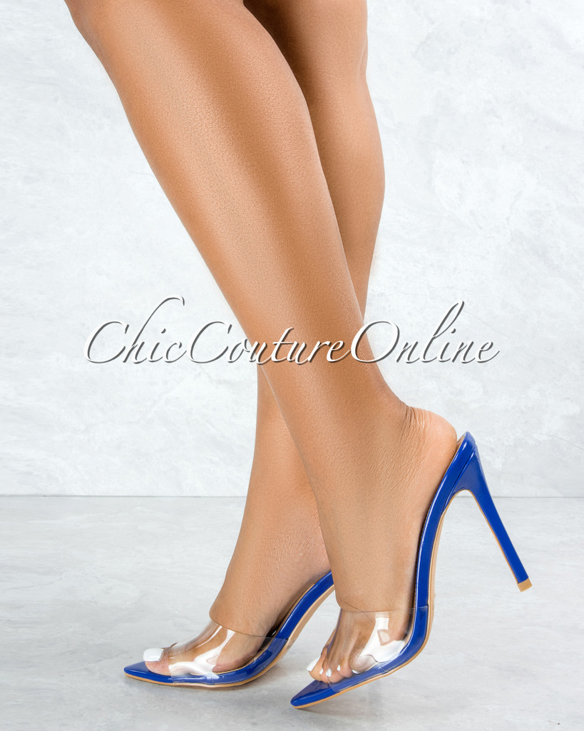 Echo Blue Sole Clear Upper Pointed Toe Heels