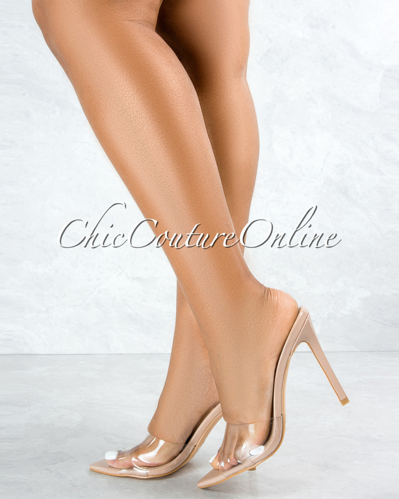 Echo Taupe Sole Clear Upper Pointed Toe Heels