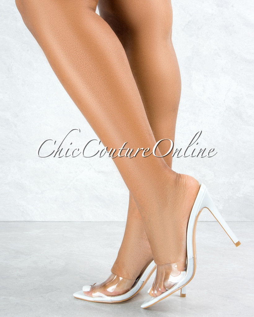 Echo White Sole Clear Upper Pointed Toe Heels