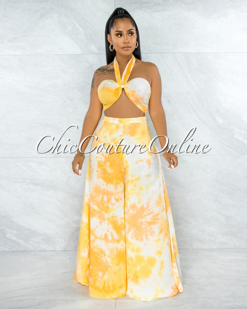 Aaka Yellow Tie-Dye Multi-Way Top & Wide Legs Set
