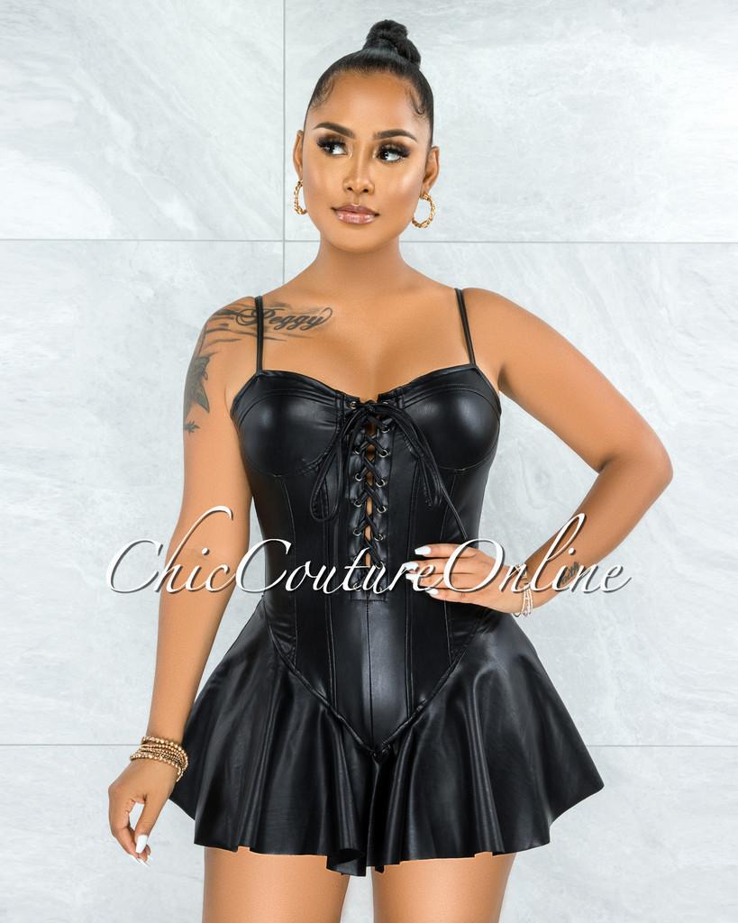 Rupaly Black Faux Leather Lace-Up Ruffle Hem Bodysuit Dress