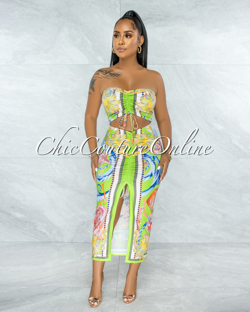 Erith Lime Multi-Color Print Crop Top & Ruched Skirt Set