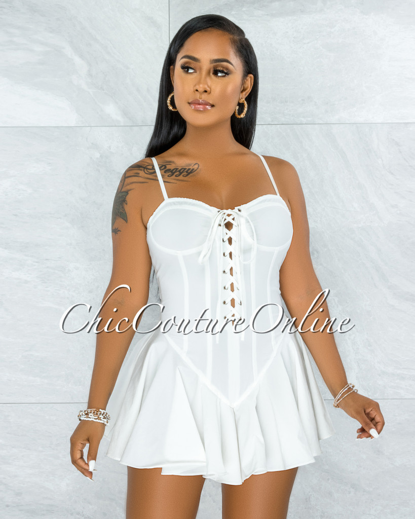 Tiana Off-White Lace-Up Ruffle Hem Bodysuit Mini Dress