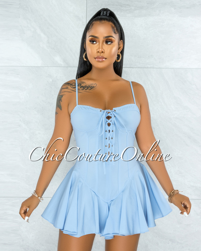 Tiana Baby Blue Lace-Up Ruffle Hem Bodysuit Mini Dress