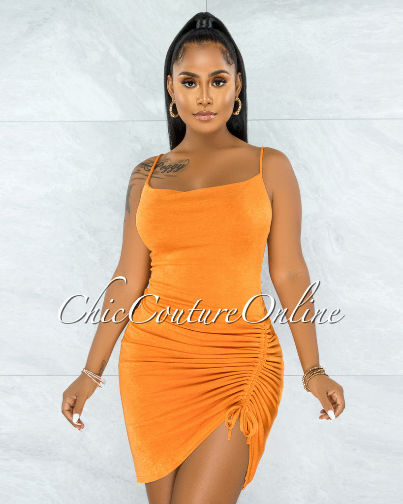 Lenesha Orange Shimmer Ruched Side Midi Dress