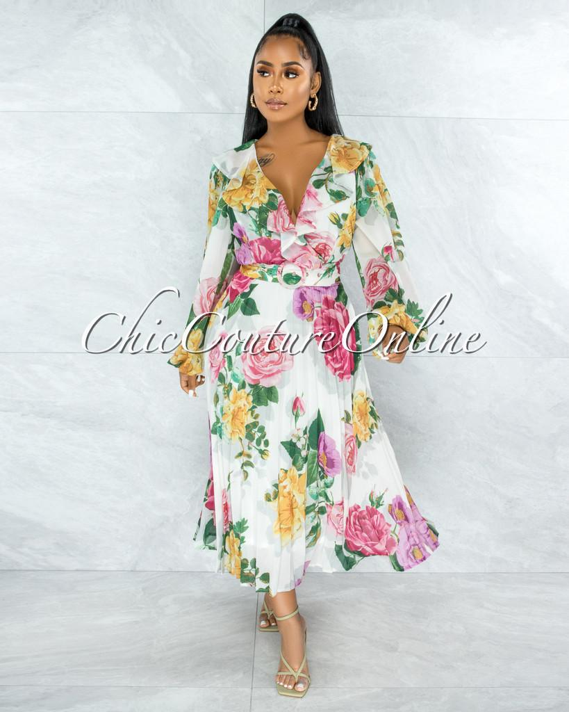 Barry Ivory Floral Print Pleated Skirt Belt Midi Ruffle Dress