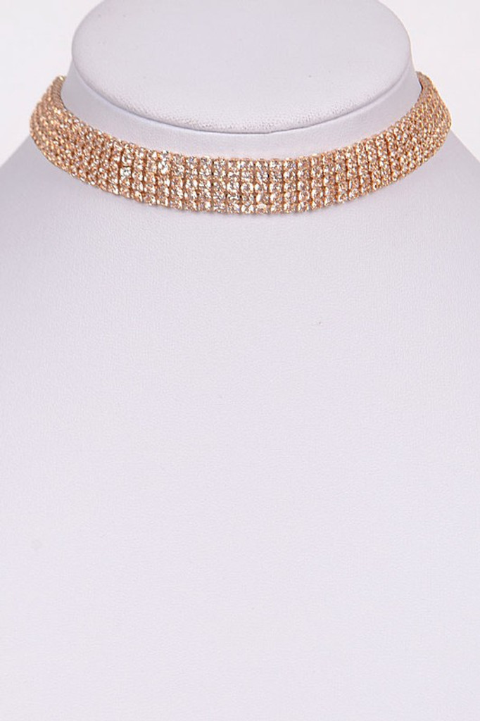 Jenna Gold Round Sparkling Choker Necklace