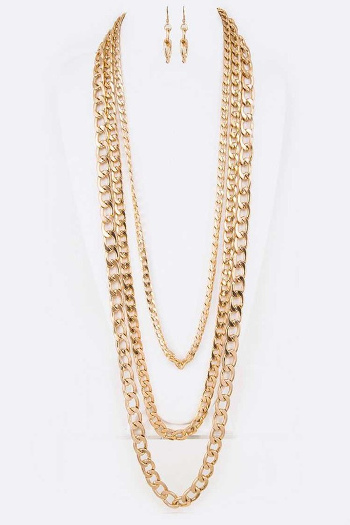 Carly Gold Long Chunky Layer Necklace Set