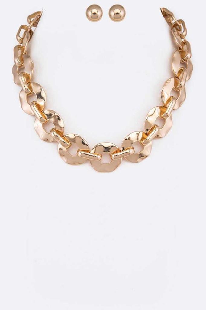Tanya Gold Hammered Chain Link Necklace Set