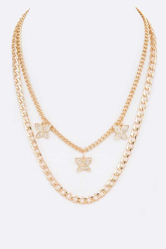 Marra Gold Crystal Butterfly Layer Chain Necklace