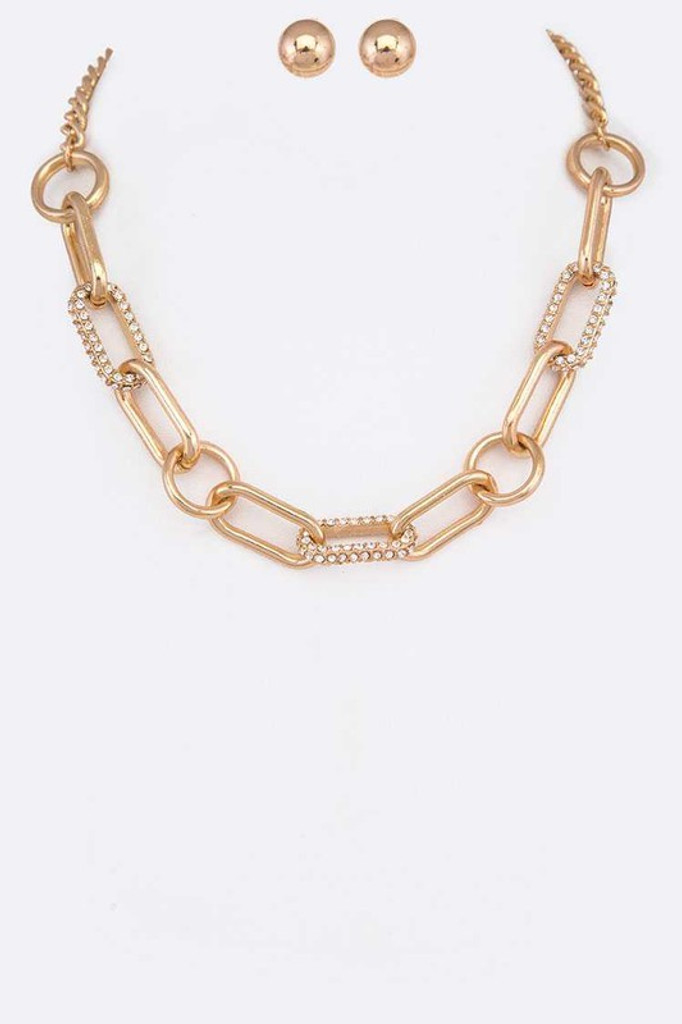 Jessie Gold Crystal Accent Chain Link Iconic Necklace Set
