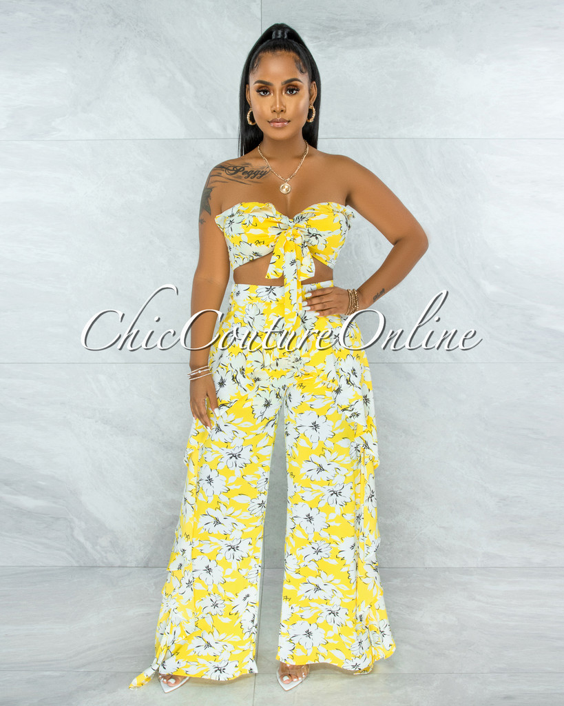 Callie Yellow White Floral Print Front Tie Top & Ruffle Pants Set