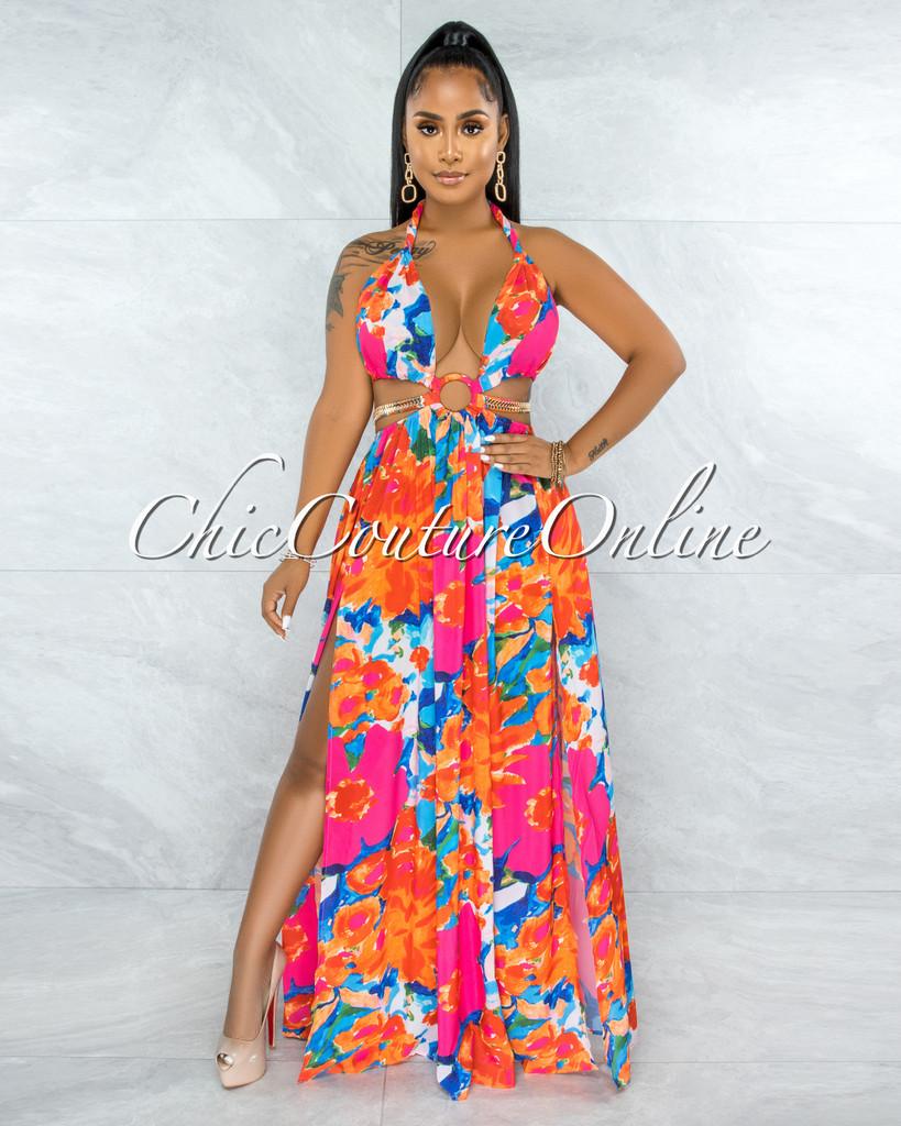 Latisha Orange Fuchsia Print Cut-Out Sides Gold Link Dress