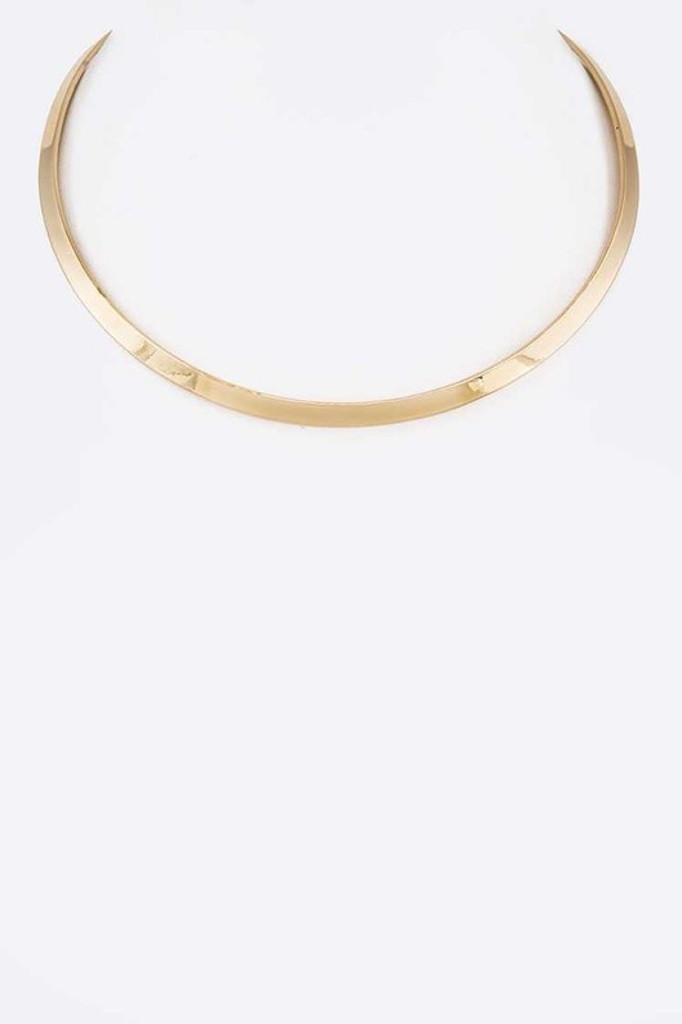 Karla Gold Polished Metal Collar Necklace